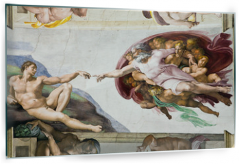 Panel szklany do kuchni - Creation of Adam by Michelangelo, Sistine Chapel, Rome