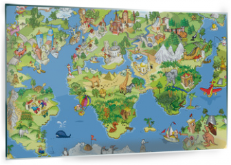 Panel szklany do kuchni - Great and funny world map
