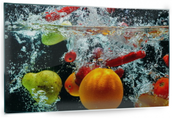 Panel szklany do kuchni - Various Fruit Splash on water