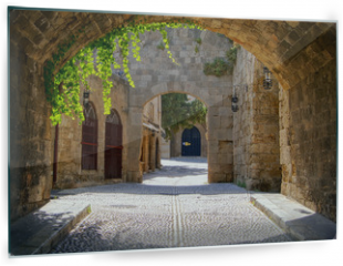 Panel szklany do kuchni - Medieval arched street in the old town of Rhodes, Greece