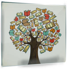 Panel szklany do kuchni - Education concept tree with books