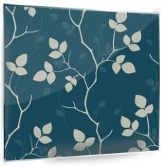 Panel szklany do kuchni - Wallpaper with leaves. Seamless pattern