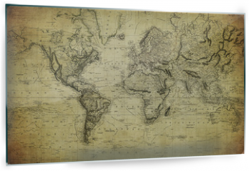 Panel szklany do kuchni - vintage map of the world 1814..