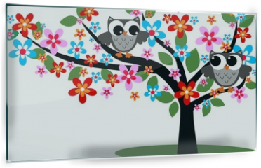 Panel szklany do kuchni - two owls sitting in a tree