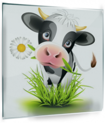 Panel szklany do kuchni - Holstein cow in grass