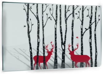 Panel szklany do kuchni - birch trees with christmas deers, vector