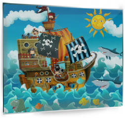 Panel szklany do kuchni - The pirates on the sea - illustration for the children