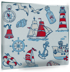 Panel szklany do kuchni - Nautical Sea Design Elements -for scrapbook and design in vector