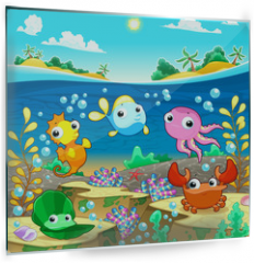 Panel szklany do kuchni - Happy marine family under the sea.