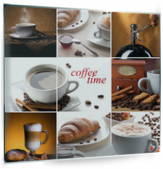 Panel szklany do kuchni - coffee collage with different cups, coffee mill and croissant