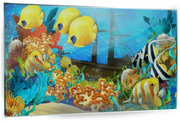 Panel szklany do kuchni - The coral reef - illustration for the children