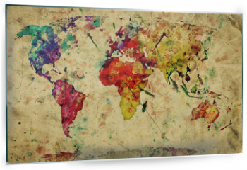 Panel szklany do kuchni - Vintage world map. Colorful paint, watercolor on grunge paper
