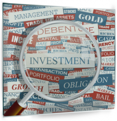 Panel szklany do kuchni - INVESTMENT. Word cloud concept illustration.