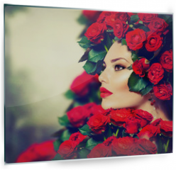 Panel szklany do kuchni - Beauty Fashion Model Girl Portrait with Red Roses Hairstyle