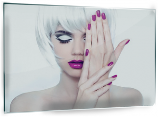 Panel szklany do kuchni - Makeup and Manicured polish nails. Fashion Style Beauty Woman Po
