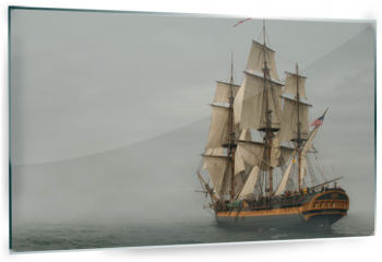 Panel szklany do kuchni - Vintage Frigate sailing into a fog bank