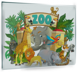Panel szklany do kuchni - Cartoon zoo - amusement park - illustration