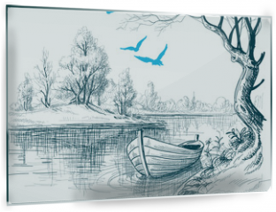 Panel szklany do kuchni - Boat on river / delta vector sketch