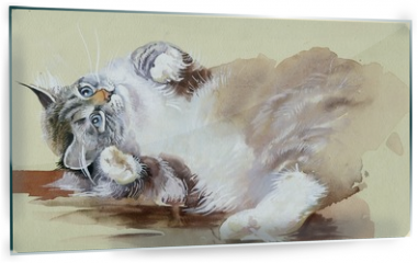 Panel szklany do kuchni - Watercolor Animal Collection: Cat