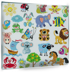 Panel szklany do kuchni - set  with pictures for children