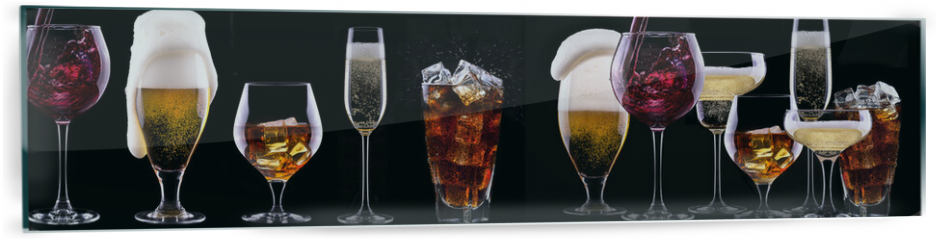 Panel szklany do kuchni - alcohol drinks set isolated on a black
