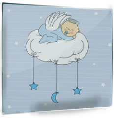 Panel szklany do kuchni - baby boy sleeping on a cloud. Birthday Card