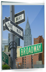 Panel szklany do kuchni - Broadway sign in front of New York City skyline