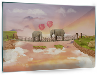 Panel szklany do kuchni - Two elephants on a bridge in the sky with balloons. Illustration