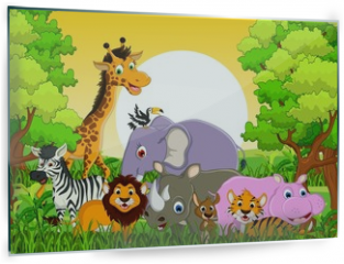Panel szklany do kuchni - cute animal wildlife with forest background
