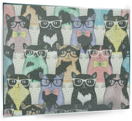 Panel szklany do kuchni - Seamless pattern with hipster cute cats for children