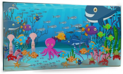 Panel szklany do kuchni - Sea life cartoon background