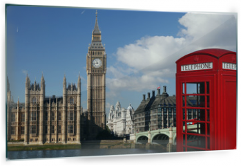 Panel szklany do kuchni - Big Ben with red telephone box in London, England