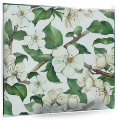 Panel szklany do kuchni - Pattern with watercolor apple flowers