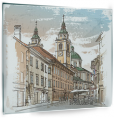 Panel szklany do kuchni - Vector drawing of central street of old european town