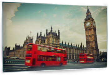Panel szklany do kuchni - London, the UK. Red bus in motion and Big Ben
