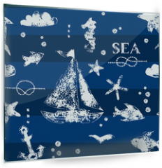Panel szklany do kuchni - White print boat and fishes on navy blueseamless pattern