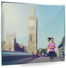 Panel szklany do kuchni - London woman running Big Ben - England lifestyle