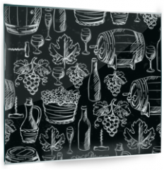 Panel szklany do kuchni - Wine seamless pattern drawn by chalk.