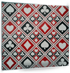 Panel szklany do kuchni - Seamless background playing card suits