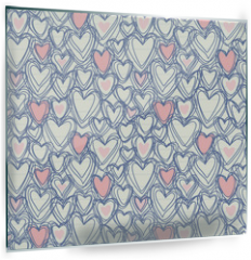 Panel szklany do kuchni - Seamless pattern with doodle hearts