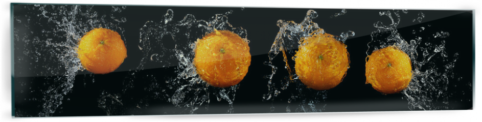 Panel szklany do kuchni - Set of fresh oranges in water splash