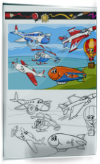 Panel szklany do kuchni - planes and aircraft cartoon coloring book