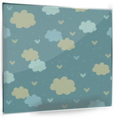 Panel szklany do kuchni - Seamless pattern with clouds