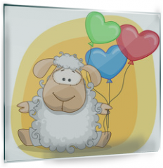 Panel szklany do kuchni - Sheep with balloons