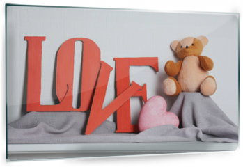 Panel szklany do kuchni - Decorative letters forming word LOVE with teddy bear