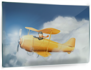 Panel szklany do kuchni - Aircraft in the clouds, vector illustration