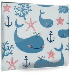 Panel szklany do kuchni - Seamless pattern with cute whales.