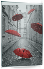 Panel szklany do kuchni - Red umbrellas flying on the street. Conceptual image
