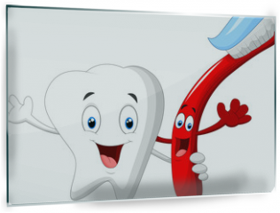 Panel szklany do kuchni - Dental Tooth and Toothbrush cartoon character