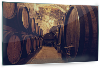 Panel szklany do kuchni -  Wooden barrels with wine in a wine vault, Italy
